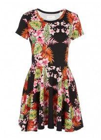 Tropical Print Skater Dress Multi-colour