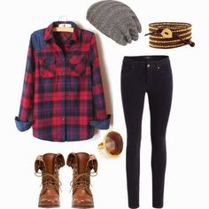 Perfection with plaid and a beanie. Bohemian chic. Leather boots and a brown wrist wrap.
