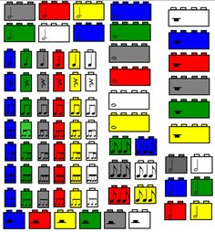 (P) Download this gallery of Lego blocks with rhythms that correspond to the Lego length to be used for rhythm writing/reading! Also included are Lego time signatures and rhythmic pattern templates in 4/5, 3/4 and 2/4. by Ashley Queen