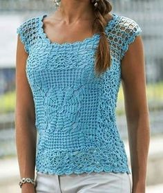 crochet top plus size summer beach top cotton beachwear . tops, top, tunic, blouses and shirts . Crochet Hooded Scarf, Crochet Blouse, Knit Crochet, Plus Size Summer Tops, Mode Crochet, Summer Blouses, Crochet Woman, Short Tops, Crochet Clothes