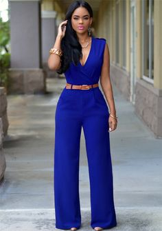 Irregular V-neck Sleeveless Wide Leg Pants Belt Long Jumpsuits