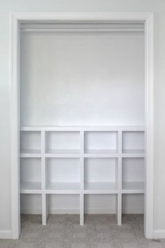 How to build cheap and easy DIY closet shelves - Lovely Etc. finished closet cubbies Learn how to build closet shelves for any closet in your home. These DIY closet shelves are inexpensive and easy to customize for any size closet. Building Shelves In Closet, Diy Closet Shelves, Playroom Closet, Craft Room Closet, Craft Closet Organization, Closet Built Ins, Boys Closet, Build A Closet, Shelves In Bedroom
