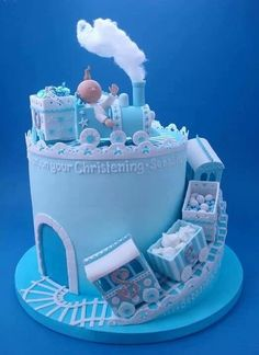 Boy Train Christening Cake - For all your cake decorating supplies, please visit… Fancy Cakes, Cute Cakes, Fondant Cakes, Cupcake Cakes, Super Torte, Rodjendanske Torte, Christening Cake Boy, Torta Baby Shower, Boy Shower