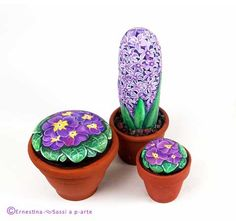 Painted rock flowers