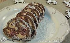 Gesztenyés-meggyes keksztekercs #chestnut #sourcherry #dessert