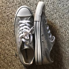 a50ea19b136095 Shop Women s Converse Silver size 9 Sneakers at a discounted price at  Poshmark. Description  A gently worn pair of sparkling all star converse.