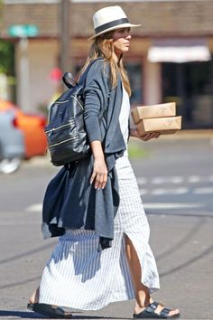 Jessica Alba wearing Birkenstock Monterey Leather Sandal and The Honest Company Honest City Backpack