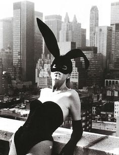 Elsa Peretti in a 'Bunny' costume by Halston, New York, 1975  by Helmut Newton *