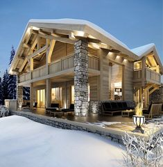 Cocooning chalet /Martine Haddouche / Chalet Design, Chalet Style, Mega Mansions, House In The Woods, Cabins In The Woods, Luxury Homes, Chalet Interior, Interior Exterior, Chalets