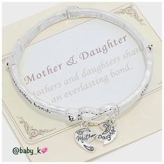 Mother & Daughter Heart Charm Bracelet NWT - Silver burnished mother & daughter heart charm stretchable bracelet Boutique Jewelry Bracelets
