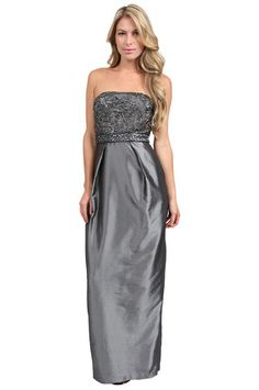 The Strapless Embroidered Long Dress in Charcoal by Sue Wong at CoutureCandy.com