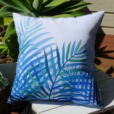 OUTDOOR cushion cover | decorative pillow cover, unique design, aqua, blue, palm, coastal, beach, tropical by SunnyblueDesigns on Etsy