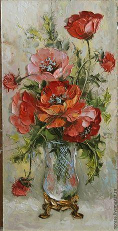 Картины цветов ручной работы. Ярмарка Мастеров - ручная работа. Купить маки живопись. Handmade. Разноцветный, картина, картина в подарок