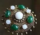 vintage *:MADE in GERMANY for CHRISTIAN DIOR 1963 FILLIGREE BROOCH w/CABACHONS:* - Designer Jewelry Galleria