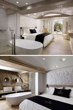 In this hotel room, a natural rock wall appears in the bathroom, while the stone wall behind the bed has been painted white to give the space a more contemporary feel.