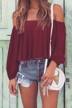 Faded jean shorts and off the shoulder top