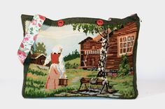big bags for your trip to the alps:  vintage needlepoint handcraft brought back to life