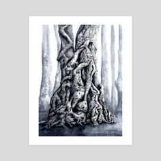 Pen And Watercolor, Watercolor Landscape, Forest Landscape, Creatures, Tapestry, Art Prints, Printed, Gallery, Paper