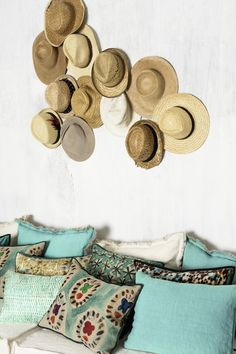 New collection of L'Accessoire. Printed, stonewashed linen and silk cushion #cushions, #turquoise, #elitis