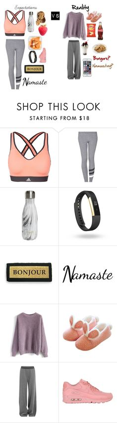 """""""The difference between the first day of the new year vs the 5th"""" by artistgirl25 ❤ liked on Polyvore featuring adidas, Sundry, S'well, Fitbit, Kiss That Frog, Chicwish, Puma, NIKE and Speck"""