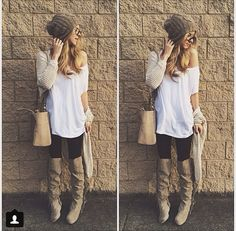 Tan beanie x loose white top x black skinnies x tall tan boots. Outfit Jeans, Grey Beanie Outfit, Tan Boots Outfit, Fall Outfits For Work, Fall Winter Outfits, Autumn Winter Fashion, Spring Outfits, Fall Fashion, Winter Ootd