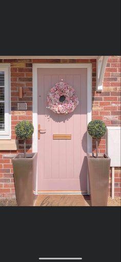 Exterior House Colors, Exterior Doors, Exterior Design, Grey Houses, Pink Houses, Patio Design, House Design, Composite Front Door, House Front Door