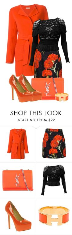 """something orange"" by atenaide86 ❤ liked on Polyvore featuring P.A.R.O.S.H., Dolce&Gabbana, Yves Saint Laurent, Christian Lacroix, Chinese Laundry and Hermès"