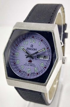 VINTAGE RICOH D/D AUTOMATIC 21J MOVEMENT NO.R31 JAPAN MADE MEN'S 35MM WATCH.. #RICOH #Casual