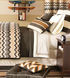 Dawson - chevron bedding,orange chevron bedding,orange bedding,orange and brown bedding,orange and white,brown and orange,contemporary,boys bedding,teen boys bedding,contemporary,modern