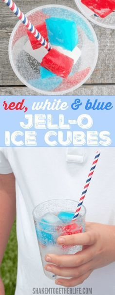 of July Recipes Red, white & blue Jello Ice Cubes are SO cool - they keep drinks cold and don't melt! Perfect for Memorial Day and July 4th Of July Desserts, Fourth Of July Food, 4th Of July Party, July 4th, Fourth Of July Recipes, 4th Of July Ideas, Patriotic Desserts, Blue Desserts, Summer Desserts