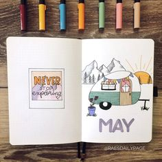 Check put my May bullet journal set-up. This camping bullet journal theme was so fun to create Bullet Journal August, Bullet Journal Travel, Bullet Journal Cover Ideas, Bullet Journal Quotes, Bullet Journal Notebook, Bullet Journal Spread, Bullet Journal Layout, Journal Covers, Bullet Journal Netflix