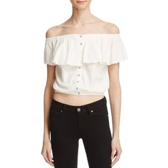 Free People Love Letter Tube Top (83 CAD) ❤ liked on Polyvore featuring tops, ivory, off the shoulder ruffle top, ruffle top, crop top, white off shoulder top and white off the shoulder top