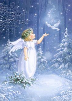 Belly Dancing Classes In San Antonio Christmas Scenes, Christmas Pictures, Christmas Angels, Christmas Art, Vintage Christmas, Xmas, Angel Images, Angel Pictures, Illustration Noel