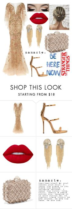 """""""my favourite set 😊"""" by natalie-ava-white ❤ liked on Polyvore featuring Marchesa, Giuseppe Zanotti, Lime Crime, Alexis Bittar and Jimmy Choo"""