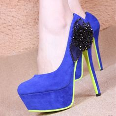 I found Blue neon high heels on Wish, check it out!