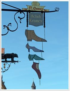 Kramer Shoes in Rottweil, Baden-Wurttemberg, Germany..... Restaurant Signs, Pub Signs, Old Street, Street Art, Storefront Signs, Shop Signage, Art Populaire, Advertising Signs, Store Signs