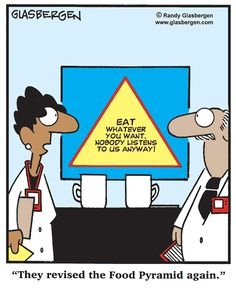 """""""They revised the Food Pyramid again."""" (Randy Glasbergen)"""