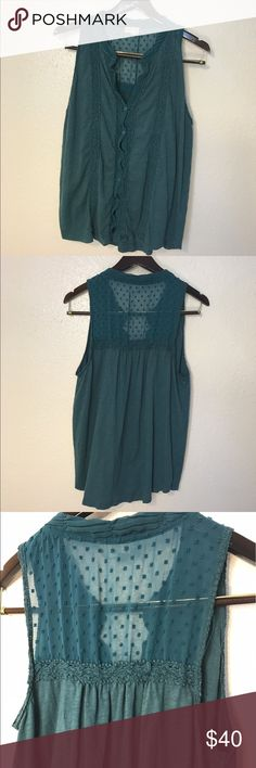 Anthropologie Meadow Rue Green Buttoned Tank Sz XL Anthropologie Meadow Rue size XL Teal green tank top with a Button Up front and lace back! Super beautiful and cute 😘💕👍🏼 prices flexible! Anthropologie Tops Tank Tops