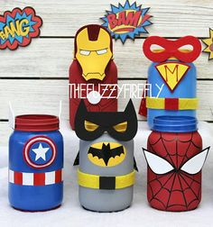 Outstanding mason jar projects are offered on our internet site. look at this and you wont be sorry you did. Avengers Birthday, Superhero Birthday Party, 4th Birthday, Birthday Parties, Spider Man Birthday, Superhero Baby Shower, Wine Bottle Crafts, Mason Jar Crafts, Mason Jar Diy