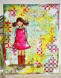 Olivia peinture Mixed Media originale sur canvas par Shirel sur Etsy, €90,00