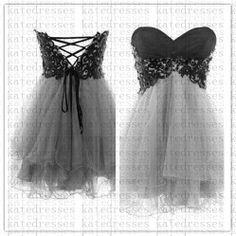New Prom Dresses Aline Strapless Short Gray Lace by Katedresses, $98.00