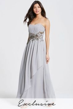 36dd0134c6a Little Mistress Grey Decorative Waist Bandeau Maxi Dress