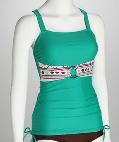 Love this Teal Stripe Ring Tankini Top - Women on #zulily! #zulilyfinds