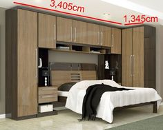 guarda roupa com cama 10 Bedroom Cupboards, Bedroom Cupboard Designs, Wardrobe Design Bedroom, Bedroom Bed Design, Home Room Design, Bedroom Decor, Fitted Bedroom Furniture, Fitted Bedrooms, Small Master Bedroom