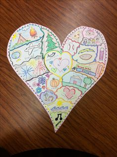 Heart Map- did this art therapy project with a client today