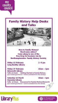 Family history help desk & talks at Brixworth, Long Buckby & Daventry Libraries