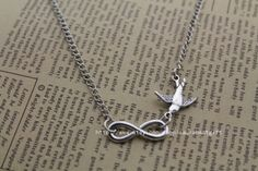 Silver Bird  Infinite Necklace antique jewelry by laurabestgift, $1.38