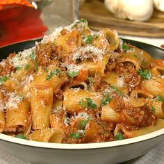 the chew | Recipe  | Michael Symon's Rigatoni With Meat Sauce