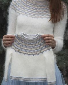 """Ravelry: Winter Angel pattern by Tanya Mulokas . I know it is knitted, but have to crochet something white and fluffy ;""""If angels wore pullovers, I know who would knit them for them!"""" - these words said by my friend gave the name to this design. Baby Knitting Patterns, Knitting For Kids, Knitting Designs, Free Knitting, Baby Sweaters, Girls Sweaters, Baby Pullover, Fair Isle Knitting, Knit Crochet"""