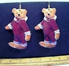 Teddy Bear Jesters * Whimsical PAPER Decoupage Earrings * Burgundy Handmade 1993  #earrings #teddy #bears #teddybears #RooseveltBearCo #Roosevelt #Bear #co #shop #find #buy #win #today #MaxRainet #ThankYou   Find at eBay Grey Teddy Bear, Teddy Bears, Bear Art, Soft Sculpture, Terrier Mix, Roosevelt, Felt Animals, Needle Felting, Pink And Gold